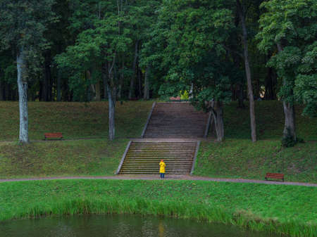 Old green Park with a wide stone staircase. Gatchina. Russia. Standard-Bild