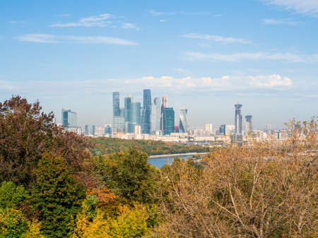 Beautiful autumn view of Moscow. Moscow international business center in sunny day. Business district of the city.