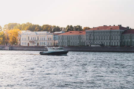 Police boat on the Neva river. Saint-Petersburg. September, 2020. Standard-Bild