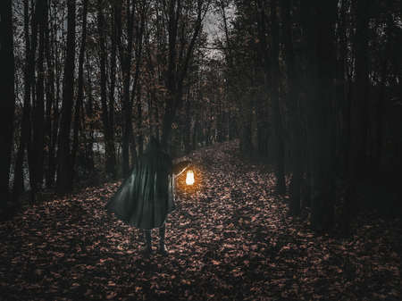 Man in motion in black brilliant hooded cloak holding the glowing lantern on the dark forest. 版權商用圖片