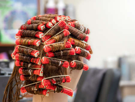 Perm training on a mannequin at the school of hairdressing. 版權商用圖片