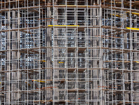 The large building in construction formwork. Aluminum alloy formwork for construction.