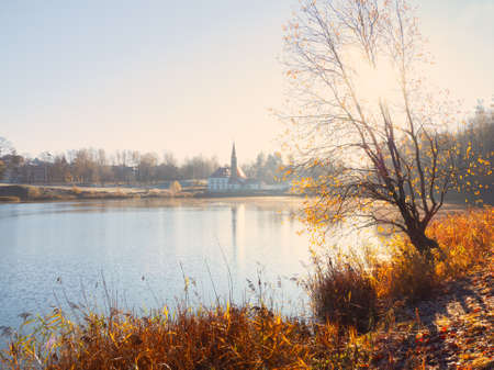 Foggy sunny autumn landscape with an old Palace. Gatchina. Russia. Soft focus. 版權商用圖片
