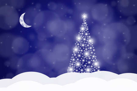 Christmas background with Christmas tree and crescent on a blue background, vector illustration