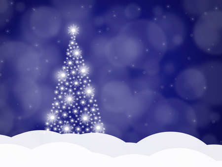Christmas background with Christmas tree on a blue background, vector illustration 版權商用圖片