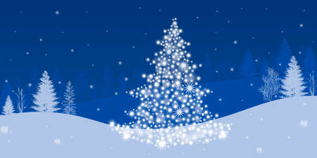 Christmas background with Christmas tree and on a blue background
