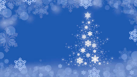 Christmas background with Christmas tree and snowflakes around the edges on a blue background.