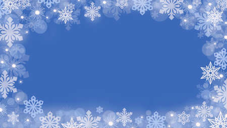 Christmas background with snowflakes around the edges on a blue background.