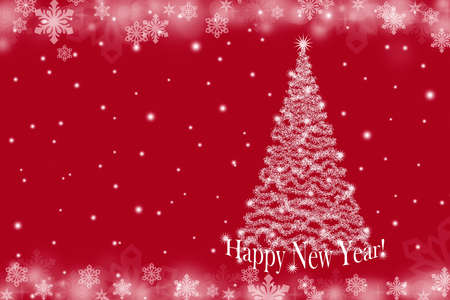 Christmas background with Christmas tree and snowflakes on a red background 版權商用圖片