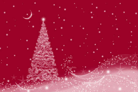 Christmas background with Christmas tree and crescent on a red background