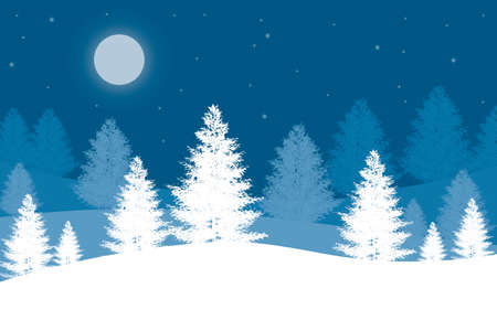 Christmas background with Christmas trees and full moon on a blue background