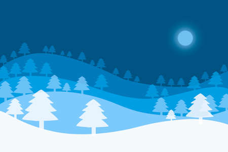Christmas background with Christmas trees and moon on a blue background