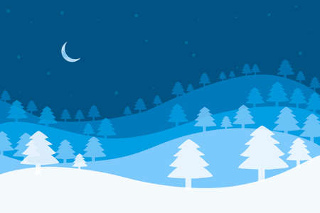 Christmas background with Christmas trees and crescent on a blue background 版權商用圖片