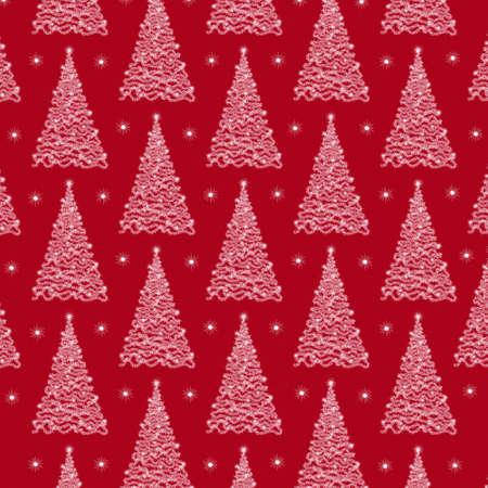 Christmas tree pattern. Christmas background with Christmas tree on a red background