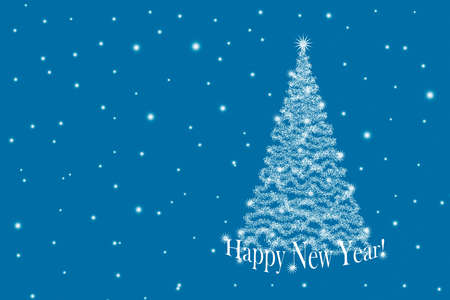 Christmas background with Christmas tree and snowflakes on a blue background 版權商用圖片