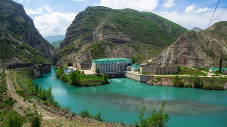 Hydroelectric power station on the Sulak river near the village of Dubki. Russia, Republic Of Dagestan. Panoramic view. Standard-Bild