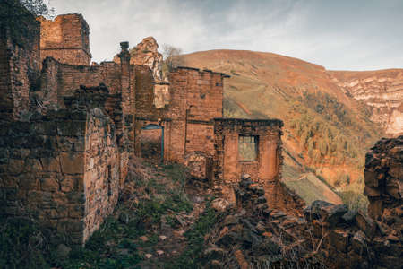 Abandoned ethnic aul. Old abandoned ghost town of Gamsutl, Dagestan, Russia. Фото со стока