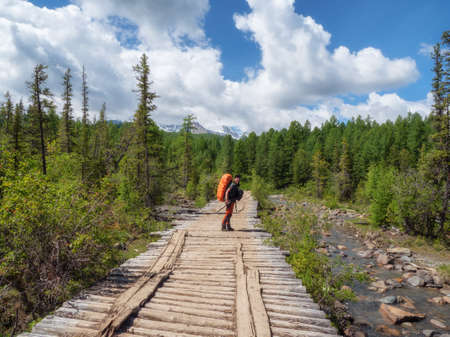 Happy male tourist with a large orange backpack on an old wooden bridge against the background of a coniferous forest turned to the camera.