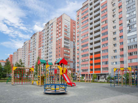 Childrens Playground in the courtyard of a new residential area. Russia, Barnaul.