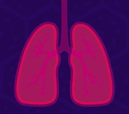 Lungs - human internal organ. Illustration of human lungs. Vector illustration of Respiratory system, healthy lungs anatomy flat medical organ icon. Illusztráció