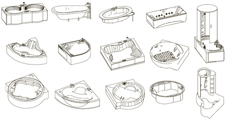 small group of objects: Icons bathtub and shower Illustration