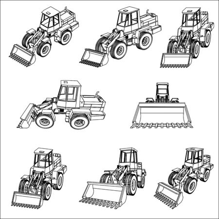 Bulldozer. Eight 3D projection vector.