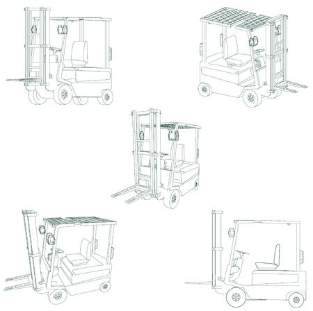 distribution picking up: forklift Illustration