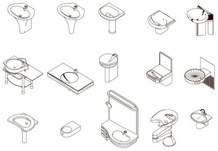 pedestal sink: Icons sanitary sink Illustration