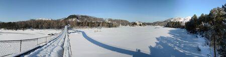 katun: winter panorama of the Katun River, Altai, Siberia, Russia
