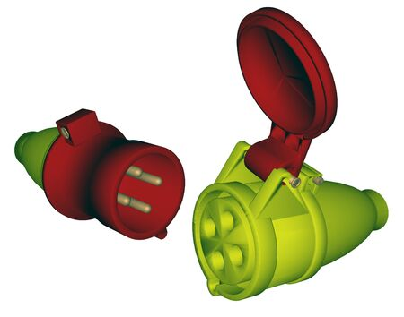 Industrial electric plug and socket