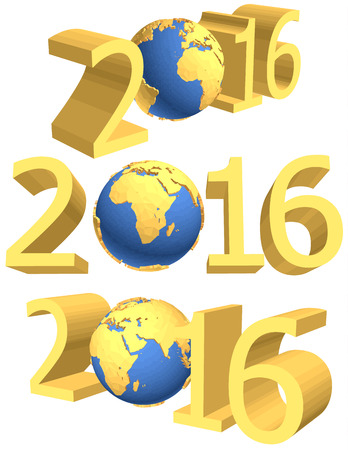 gold earth: gold figures of the new year 2016 plus the Earth Illustration