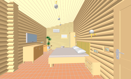 hotel room: illustration of the hotel room of round wooden logs