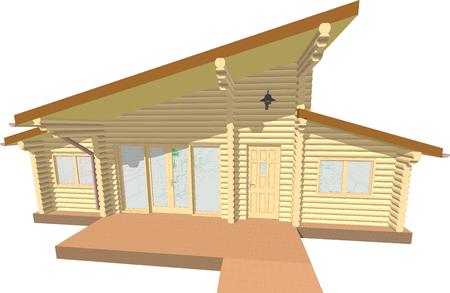 roof: log house facade Illustration