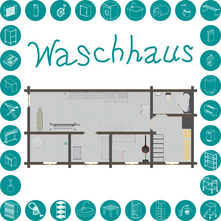 dry cleaners: Waschhaus - washhouse (translation from German) Illustration