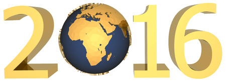 gold earth: gold figures of the new year 2016 plus the Earth Stock Photo