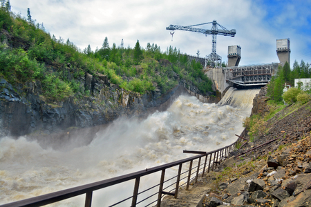 concrete background: hydro power plant