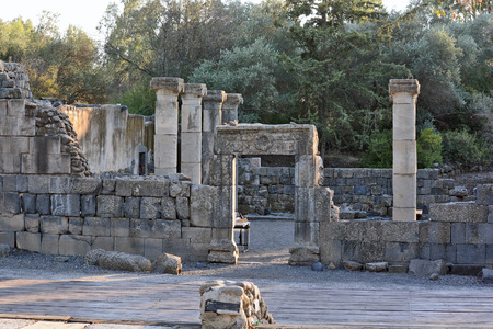 ancient buildings: ruins of an ancient synagogue in the archaeological park of Katzrin in the Golan Heights