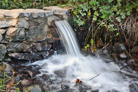 vicinity: park creek with a small waterfall in the vicinity of Katzrin in the Golan Heights Stock Photo