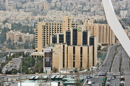 jewish home: Jerusalem, Israel - December 26, 2013: Jerusalem panorama of modern city with a birds-eye view