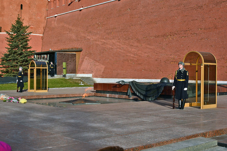 tomb of the unknown soldier: Moscow, Russia - March 1, 2014: Moscow Kremlin. Alexander Gardens, Tomb of the Unknown Soldier