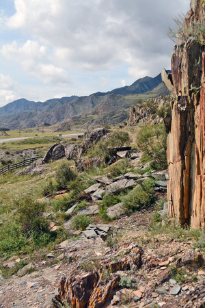 Mountain pastures and rocks, Altai mountains, Siberia, Russia Reklamní fotografie