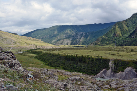 Mountain pastures and rocks, Altai mountains, Siberia, Russia Reklamní fotografie
