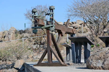 arm: ancient catapult in the archaeological park Gamla, Israel Stock Photo