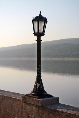 street lights: Street lights on the embankment of the River Lena, Lensk, Yakutia, Siberia Stock Photo