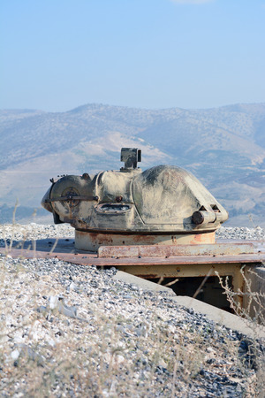 turret: Golan Heights, Israel - January 2, 2014: Old turret on the fortifications in the Golan Heights on the border with Syria