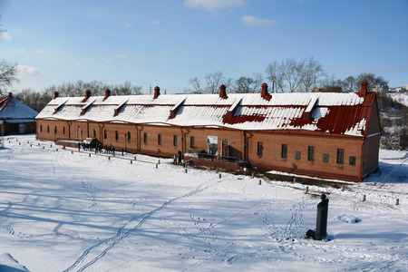 puertas de hierro: Novokuznetsk, Russia - October 18, 2014: The building of a soldiers barracks. A monument of history and architecture Kuznetsk fortress in the city of Novokuznetsk, Kemerovo region, Siberia