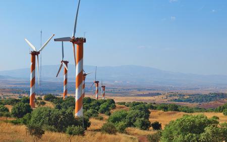israel farming: Wind generators in the Golan Heights, Israel