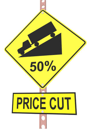 off highway: Yellow road sign with 50% discount message and sale alert
