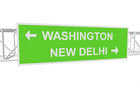 new delhi: three-dimensional illustration of a road sign with directions: WASHINGTON; NEW DELHI Illustration