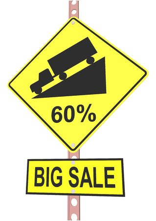 Yellow road sign with 60% discount message and sale alert